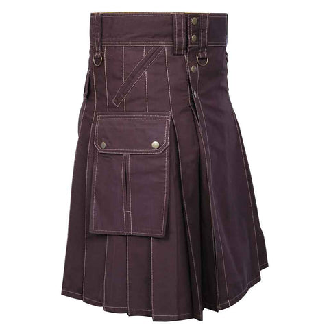 Cargo 6 Pockets Utility Kilt Brown