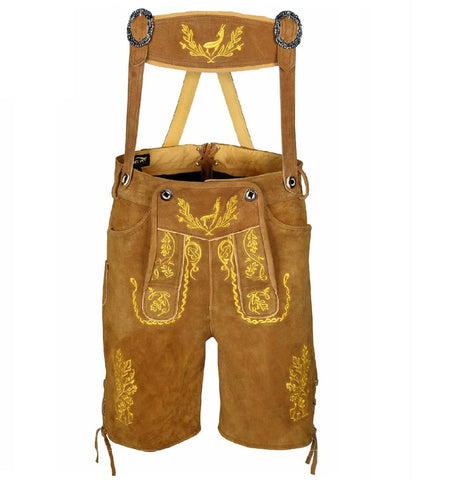 men lederhosen oktoberfest costume brown yellow