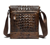 leather vest Leather Shoulder Messenger Cross body Satchel iPad Crocodile Brown Bag