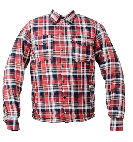 RIDERACT™  Flannel Shirt Red & Black Stripe Checked