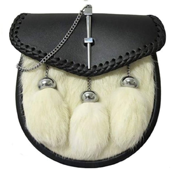 White Rabbit Fur Pin Lock Sporran