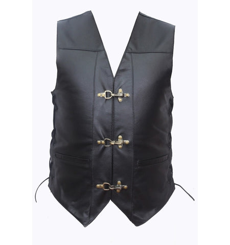 RIDERACT™ Adjustable Leather Vest Black with Antique Clasps Closure