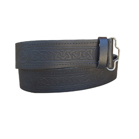 Celtic Knot Pattern Embossed Highland Kilt Belt