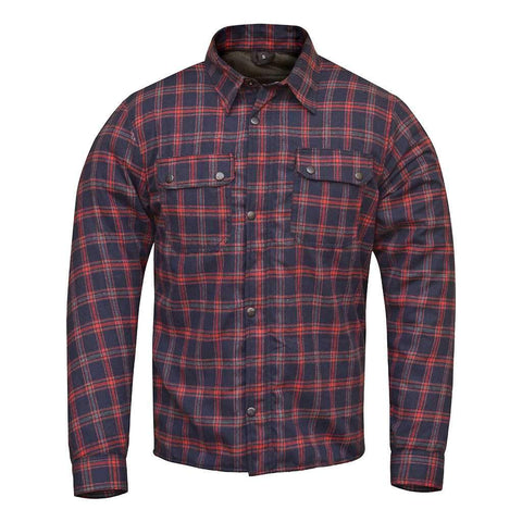 RIDERACT™  Flannel Shirt Dark Blue Red Checked