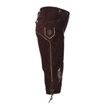 Authentic Leather Bavarian Men Kniebund Brown Oktoberfest Costume Side View
