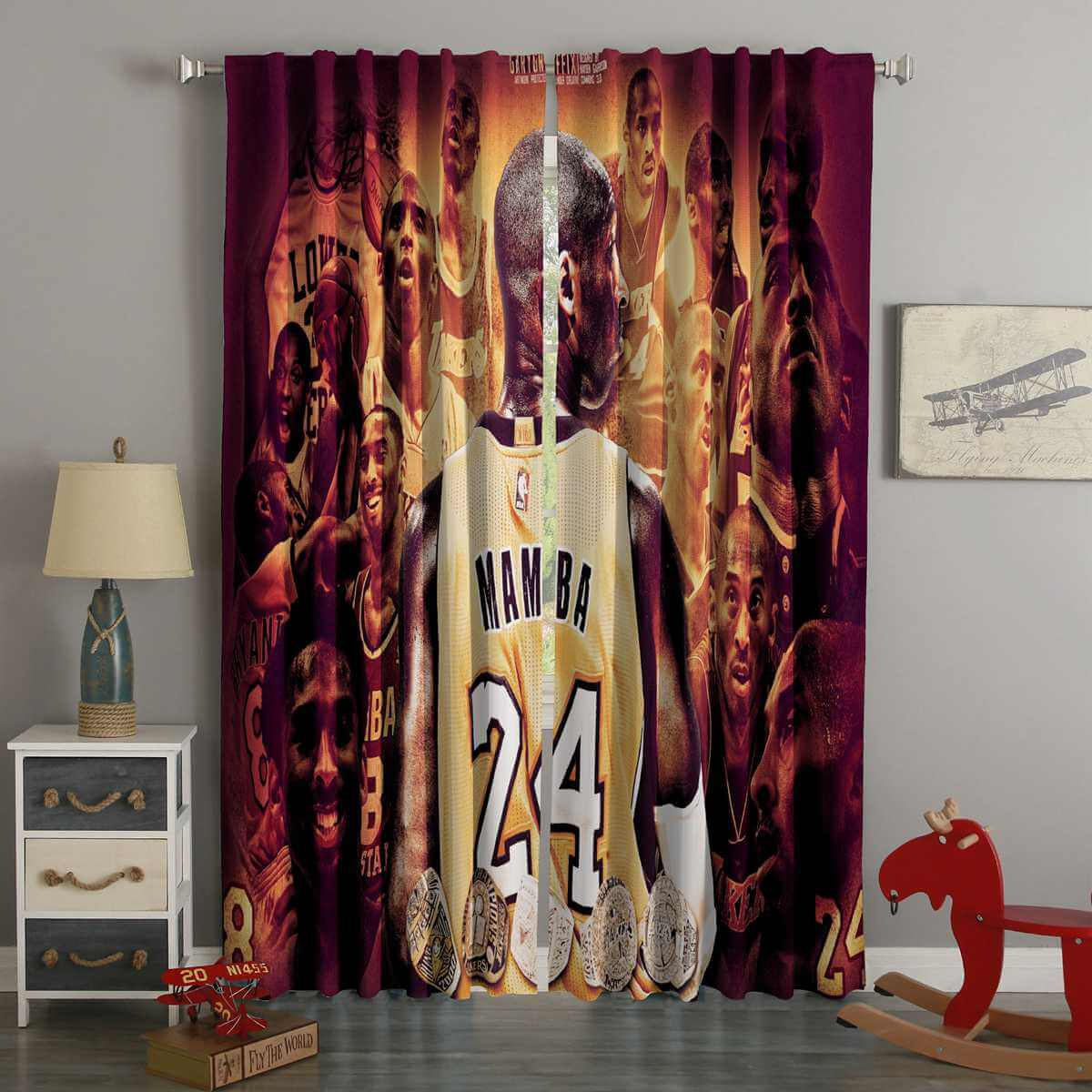 3D Printed Kobe Brant Style Custom Living Room Curtains