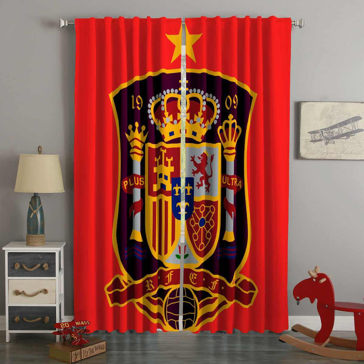 3D Printed FIFA World Cup Russia 2018 Spain Style Custom Living Room Curtains