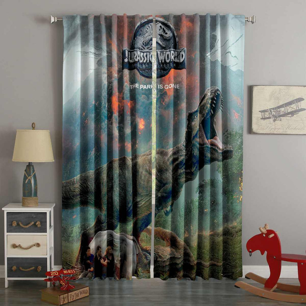 3D Printed Jurassic World Fallen Kingdom Style Custom Living Room Curtains