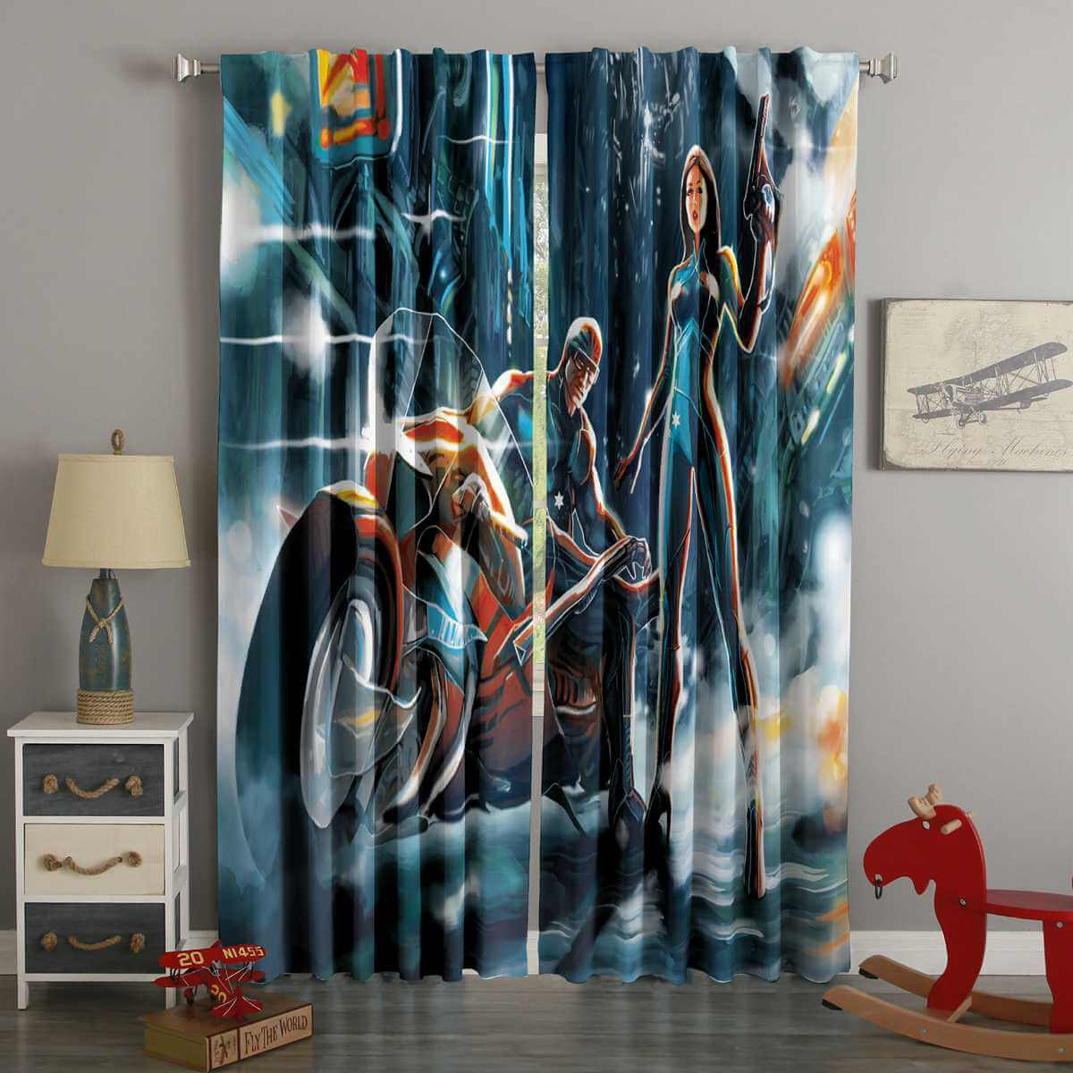 3D Printed Futuristic Warrior Girl And Boy With Bike Style Custom Living Room Curtains