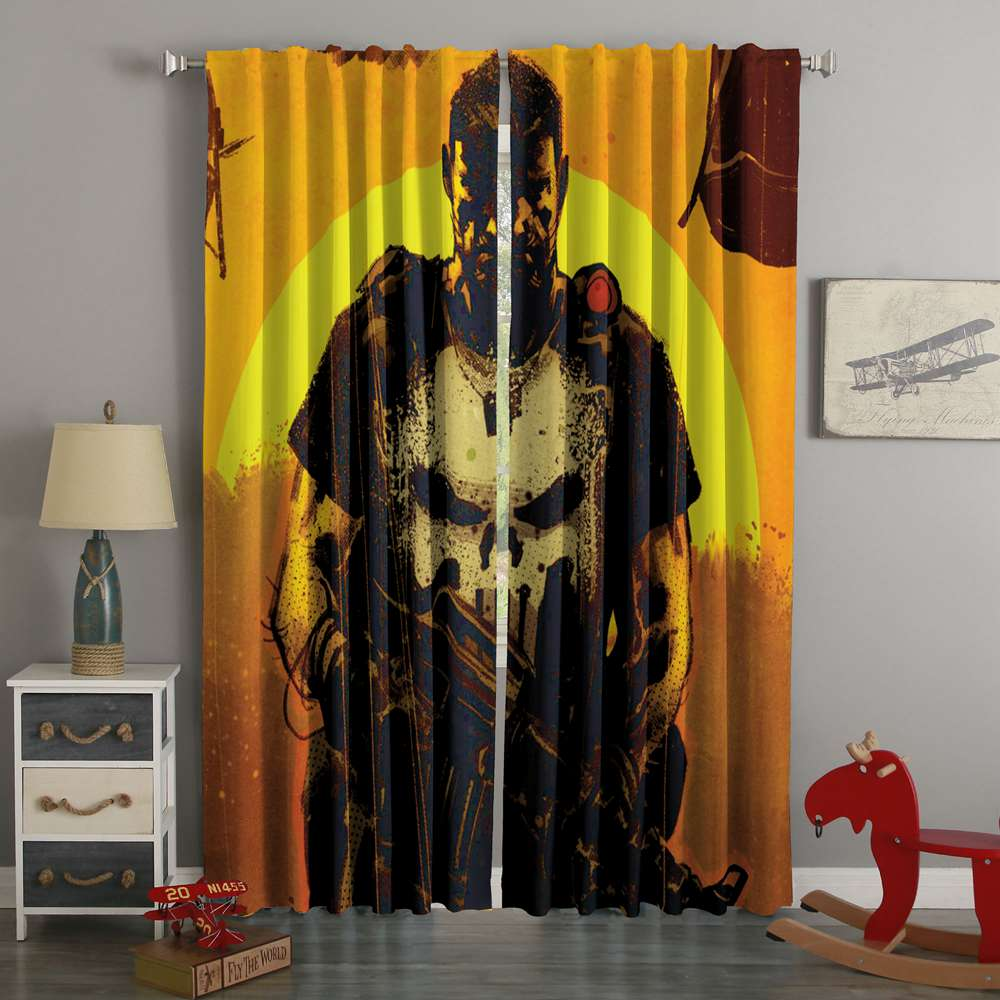 3D Printed The Punisher Style Custom Living Room Curtains
