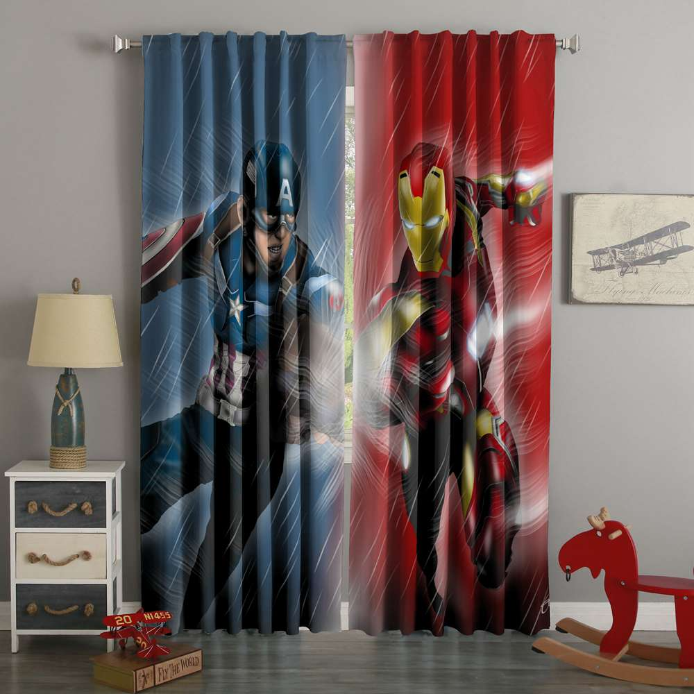 3D Printed Captain America Vs Iron Man Style Custom Living Room Curtains