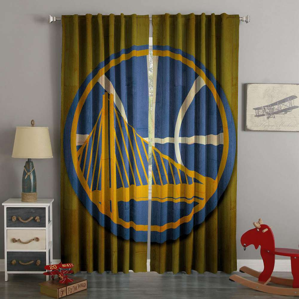 3D Printed Golden State Warriors Style Custom Living Room Curtains