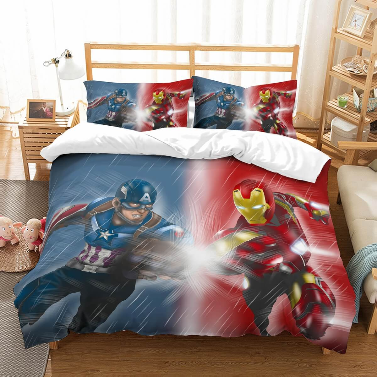 3D Customize Captain America Vs Iron Man  Bedding Set Duvet Cover Set Bedroom Set Bedlinen