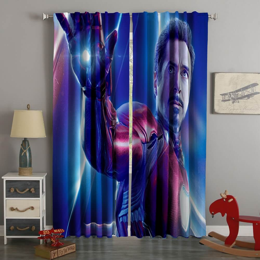 3D Printed Avengers Infinity War Iron Man Style Custom Living Room Curtains