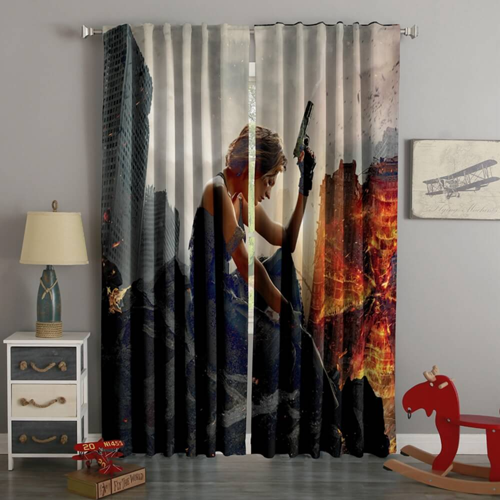 3D Printed Resident Evil The Final Chapter Style Custom Living Room Curtains