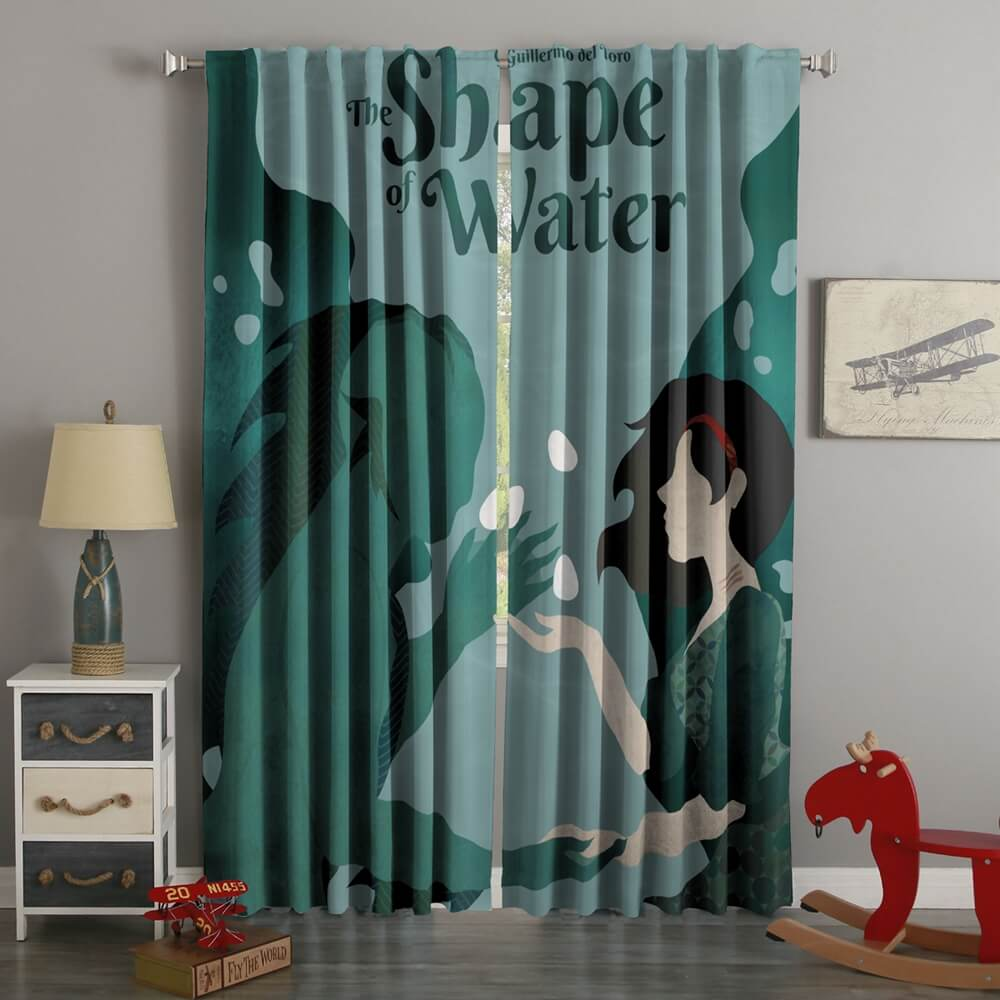 3D Printed The Shape of Water Style Custom Living Room Curtains