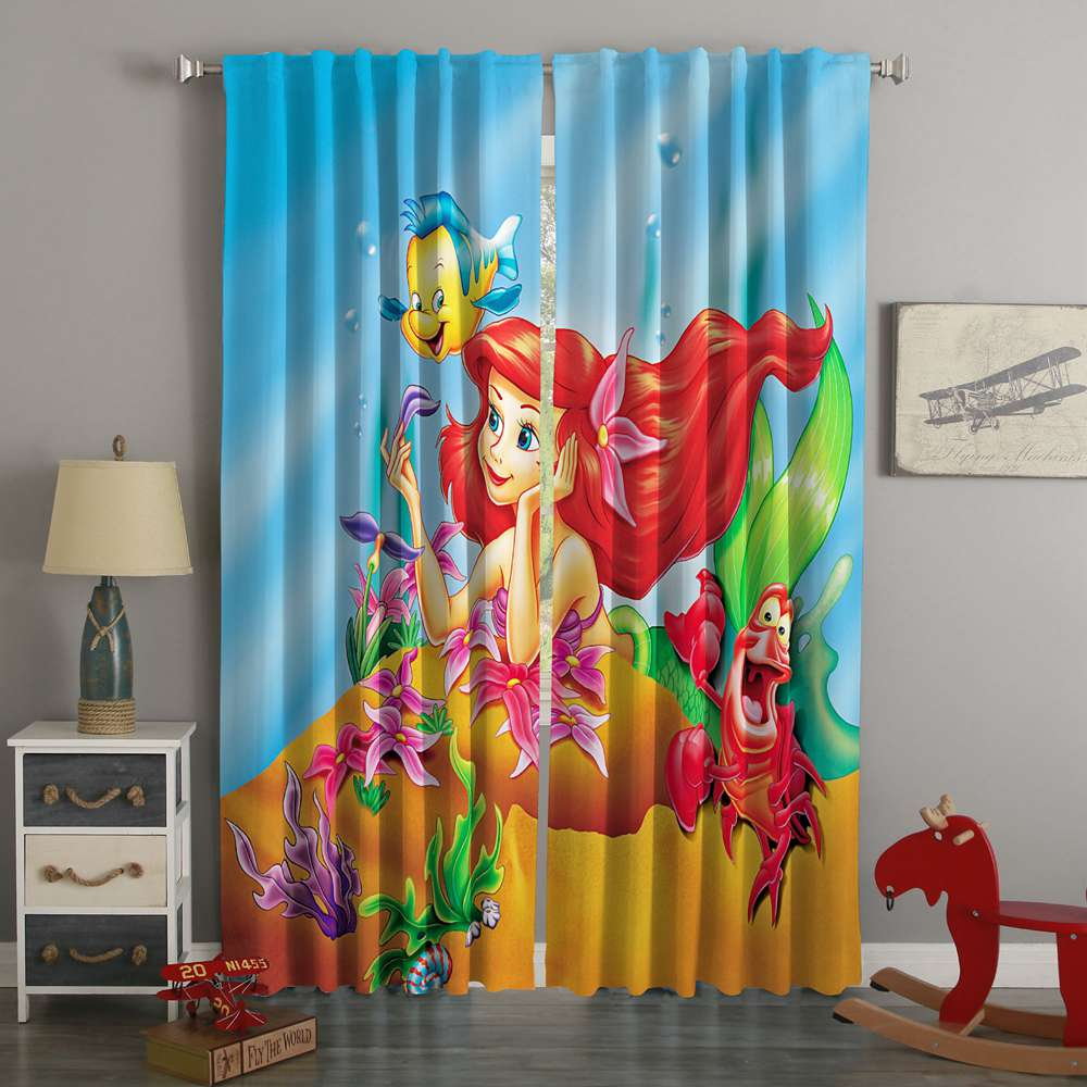 3D Printed The Little Mermaid Style Custom Living Room Curtains