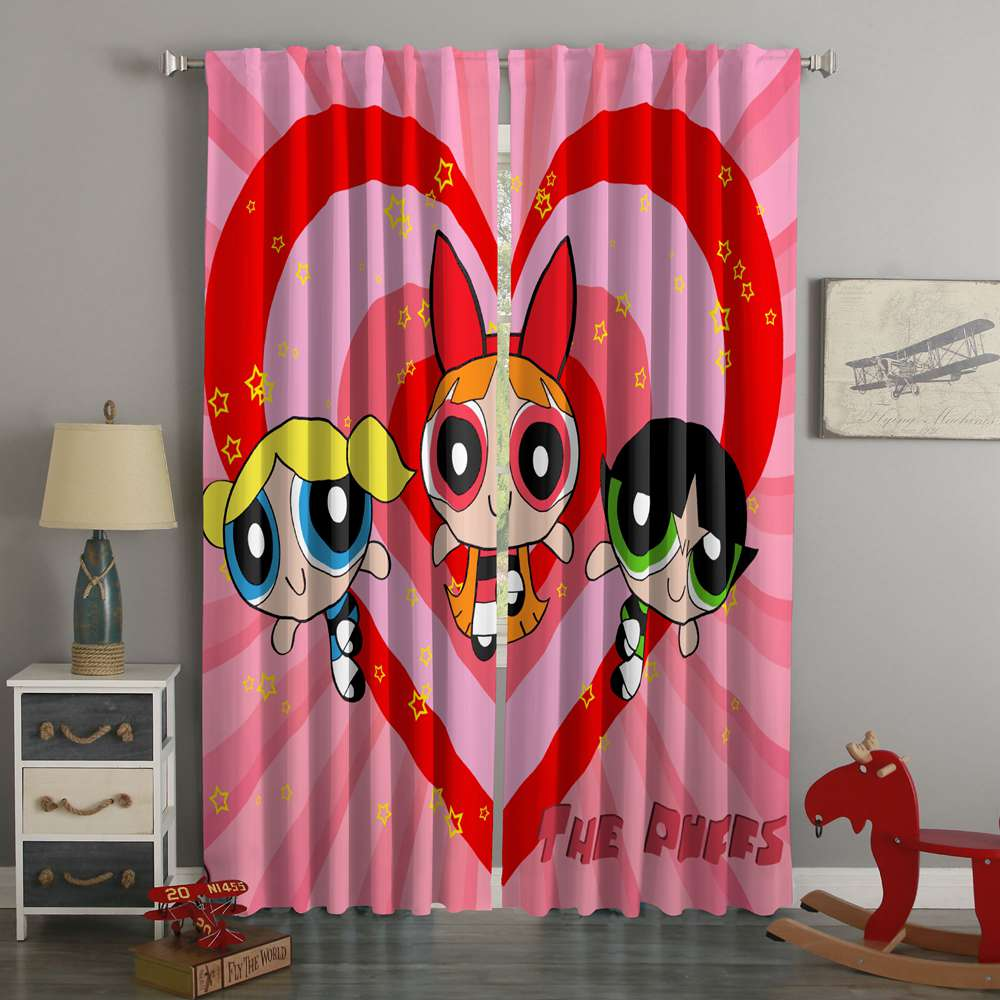 3D Printed The Powerpuff Girls Style Custom Living Room Curtains
