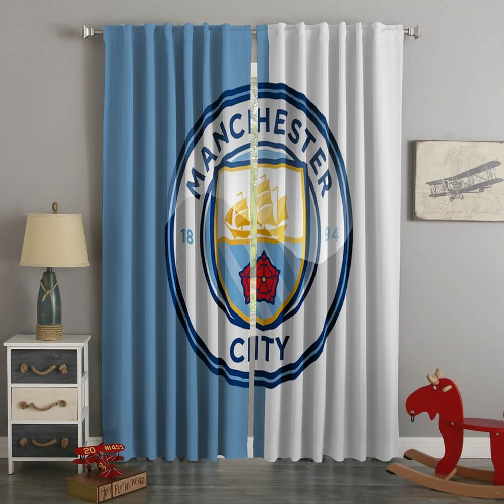 3D Printed Man City Style Custom Living Room Curtains