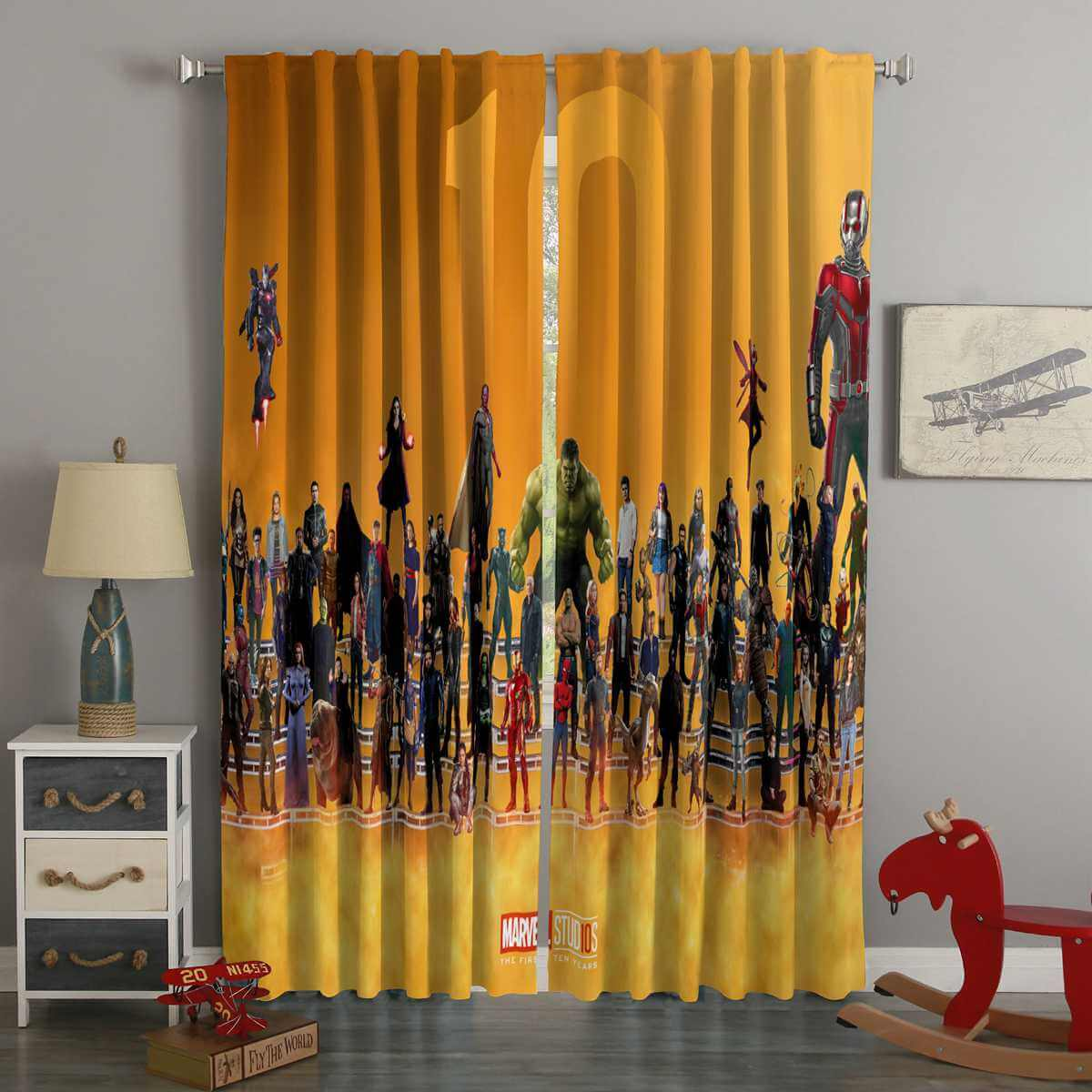 3D Printed Superheroes Marvel Comics Style Custom Living Room Curtains