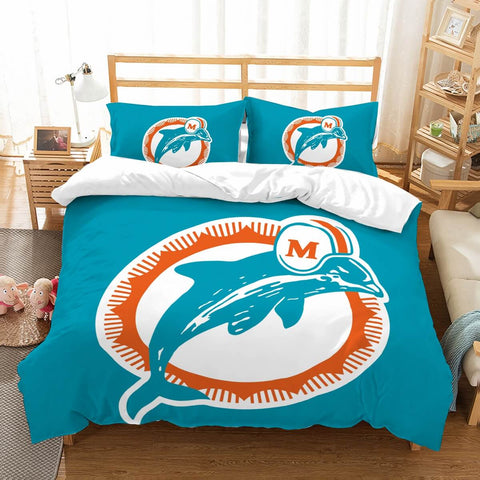3D Customize Miami Dolphins Bedding Set Duvet Cover Set Bedroom Set Bedlinen