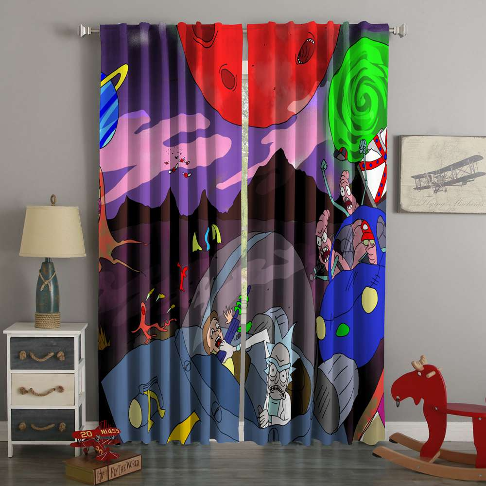 3D Printed Rick And Morty Style Custom Living Room Curtains