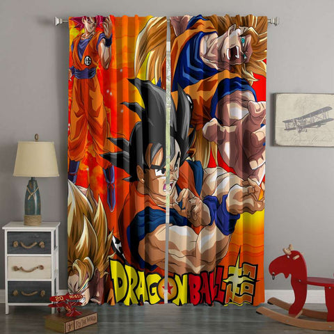 3D Printed Dragon Ball Super Style Custom Living Room Curtains
