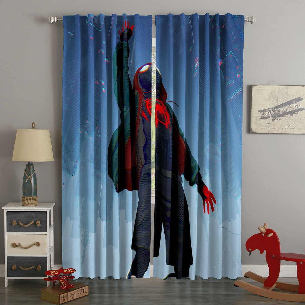 3d Printed Spider Man Into The Spider Verse Custom Living Room Curtains 3d Printed Spider Man Into The Spider Verse Custom Living Room Curtains