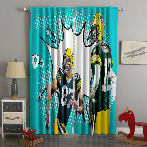 3D Printed Green Bay Packers Style Custom Living Room Curtains