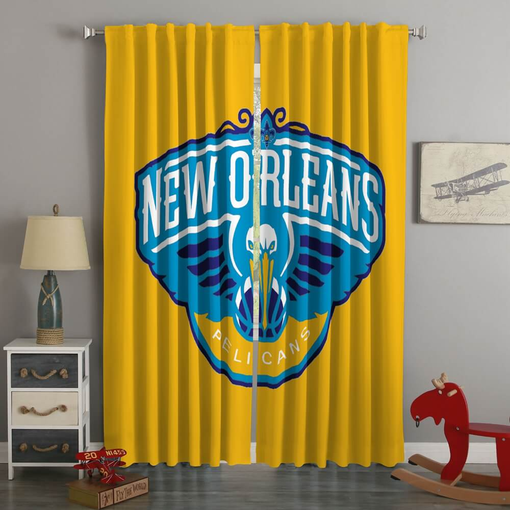 3D Printed New Orleans Pelicans Style Custom Living Room Curtains