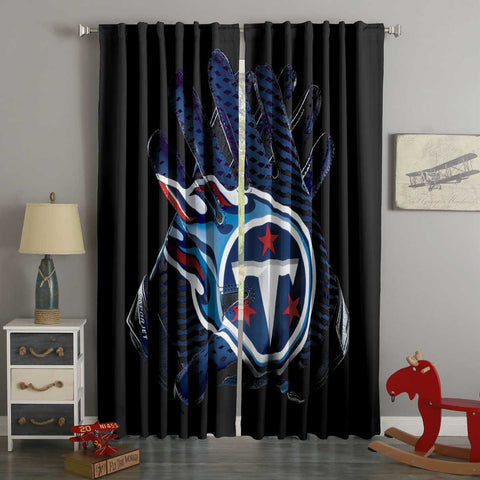 3D Printed Tennessee Titans Style Custom Living Room Curtains