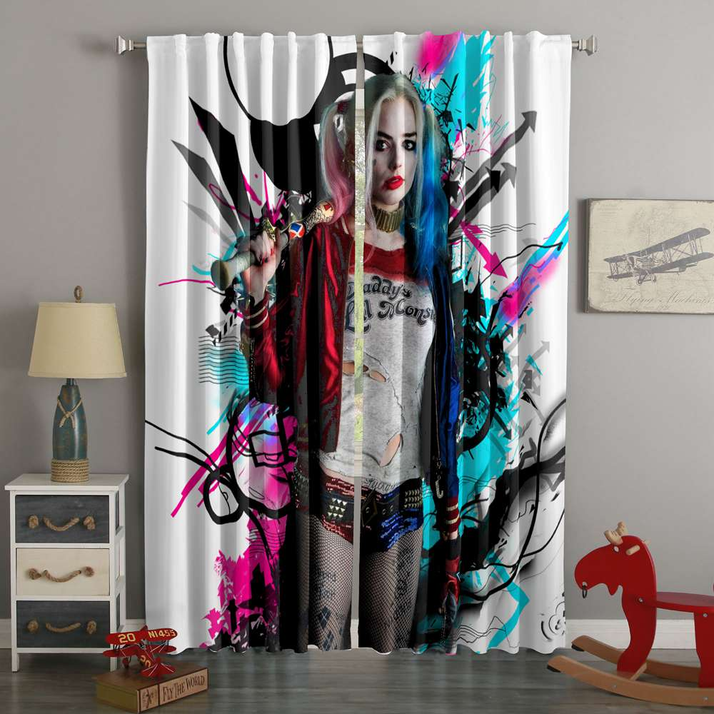 3D Printed Harley Quinn Style Custom Living Room Curtains