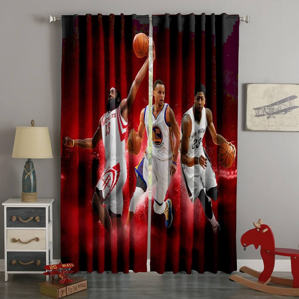 3D Printed James Harden Stephen Curry Anthony Davis Style Custom Living Room Curtains