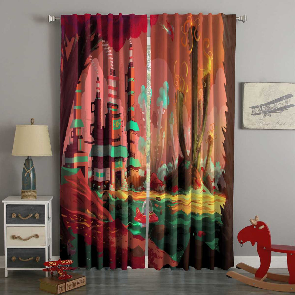 3D Printed Spaceship Planet Style Custom Living Room Curtains