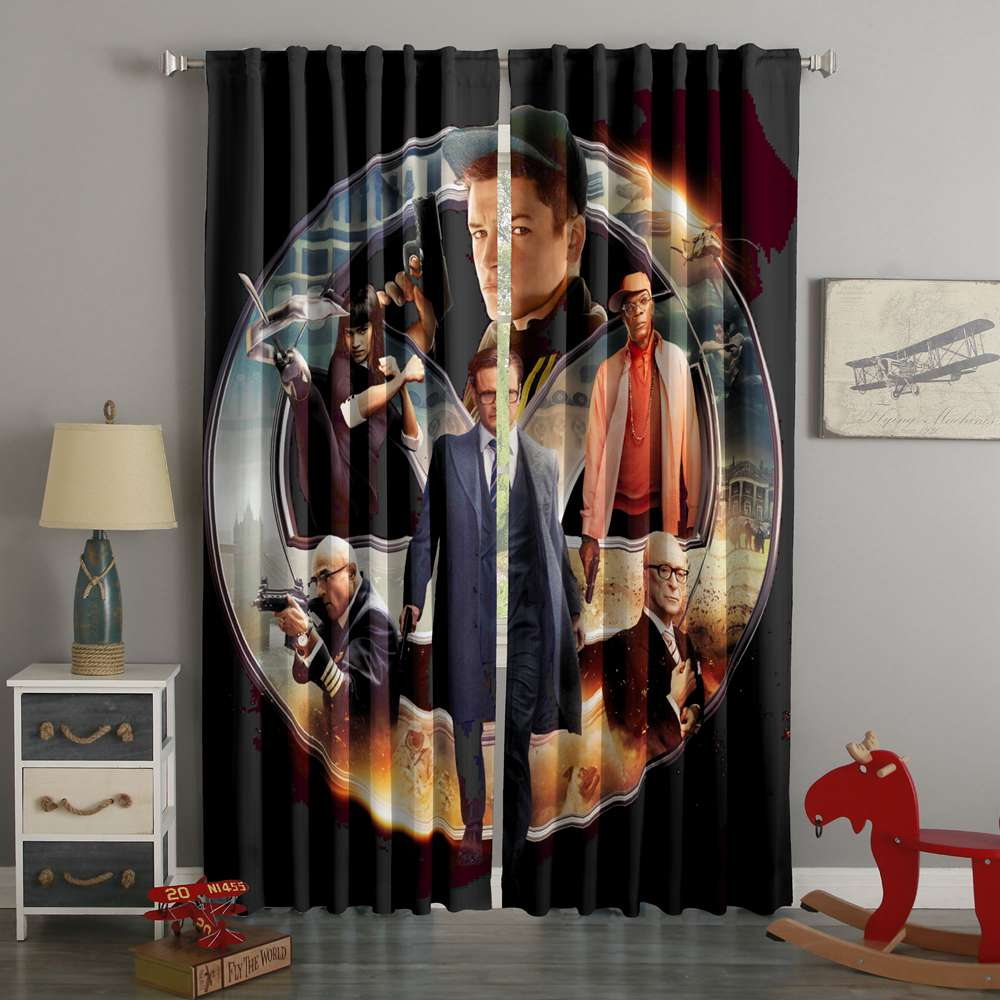 3D Printed Kingsman The Secret Service Style Custom Living Room Curtains