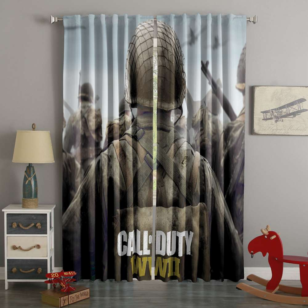 3D Printed Call Of Duty WW2 Style Custom Living Room Curtains