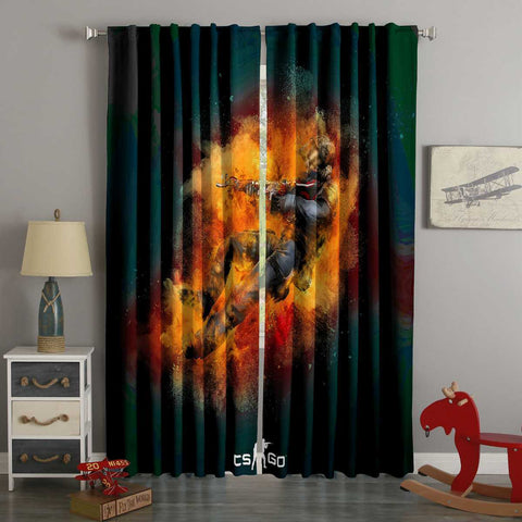 3D Printed Counter-Strike Global Offensive Style Custom Living Room Curtains