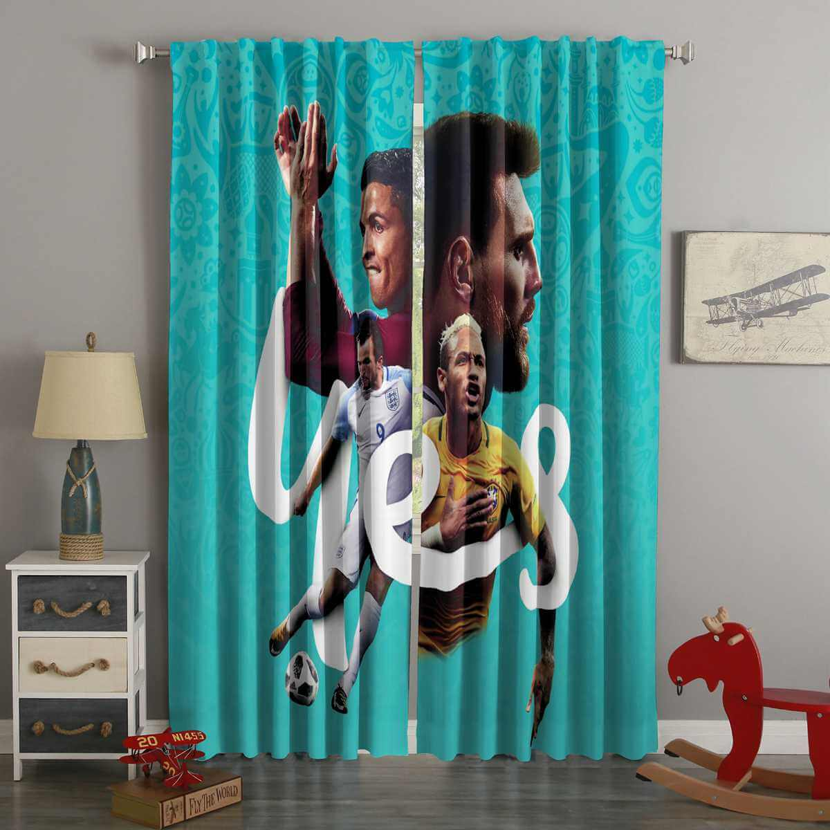3D Printed FIFA World Cup Russia 2018 Style Custom Living Room Curtains