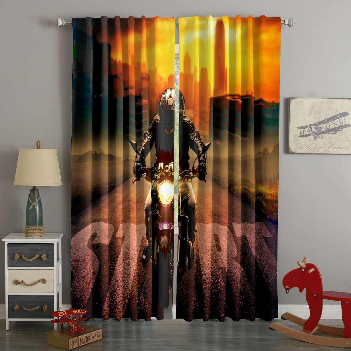 3D Printed Motorcycle Style Custom Living Room Curtains