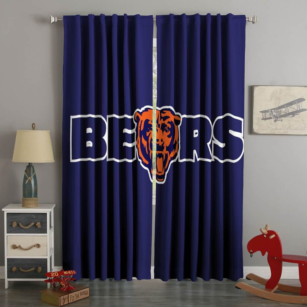 3D Printed Chicago Bears Style Custom Living Room Curtains