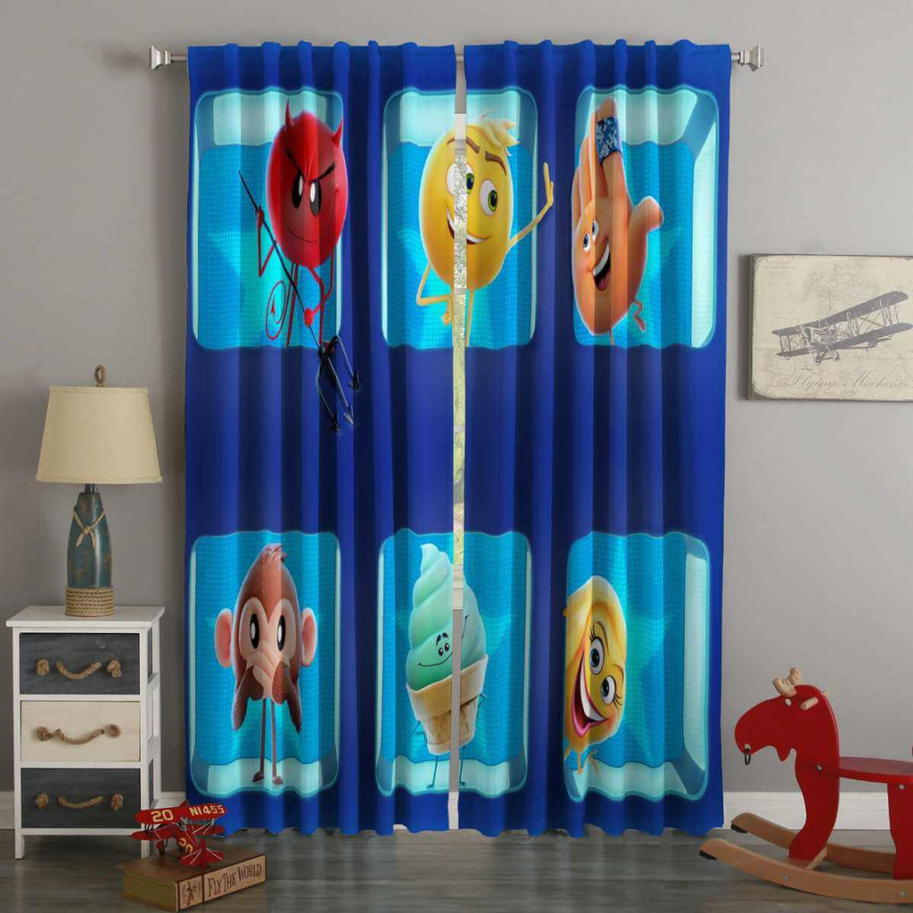 3D Printed The Emoji Movie Style Custom Living Room Curtains