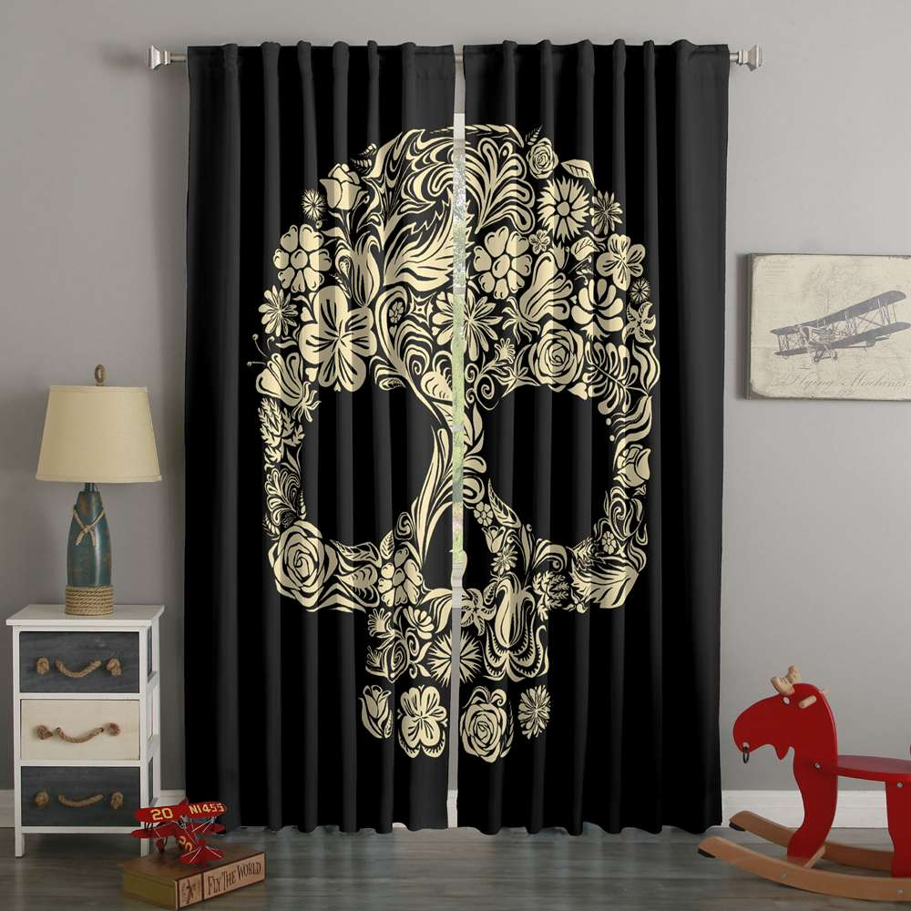 3D Printed Skull Style Custom Living Room Curtains