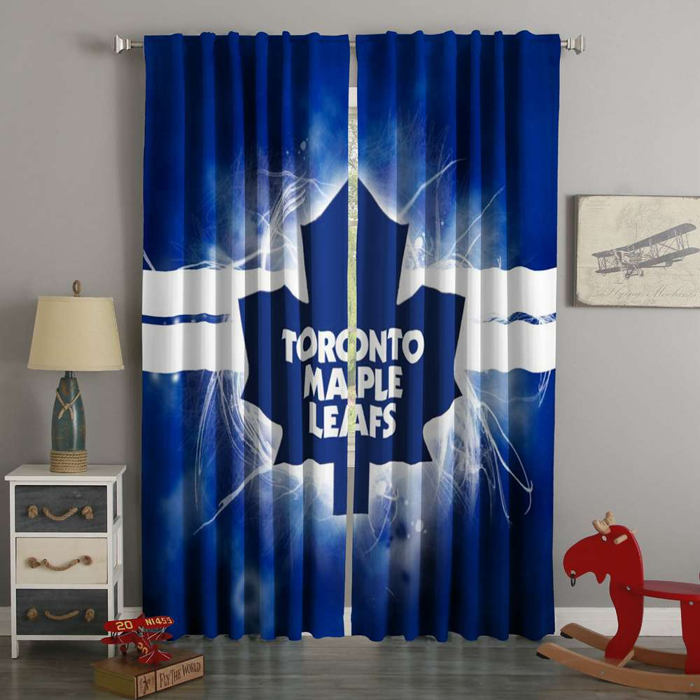 3D Printed Toronto Maple Leafs Style Custom Living Room Curtains
