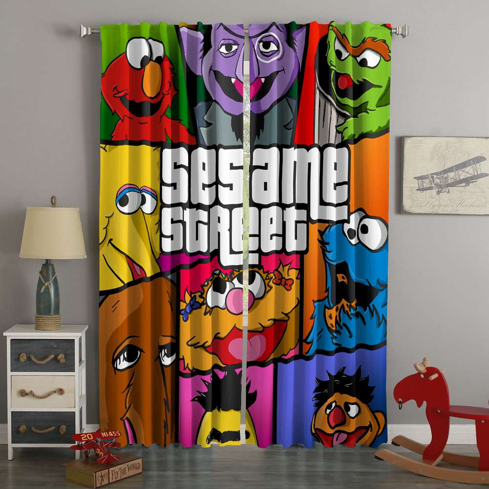 3D Printed Sesame Street Style Custom Living Room Curtains