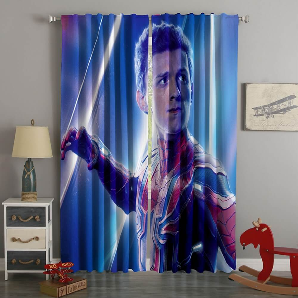 3D Printed Avengers Infinity War Spider Man Style Custom Living Room Curtains