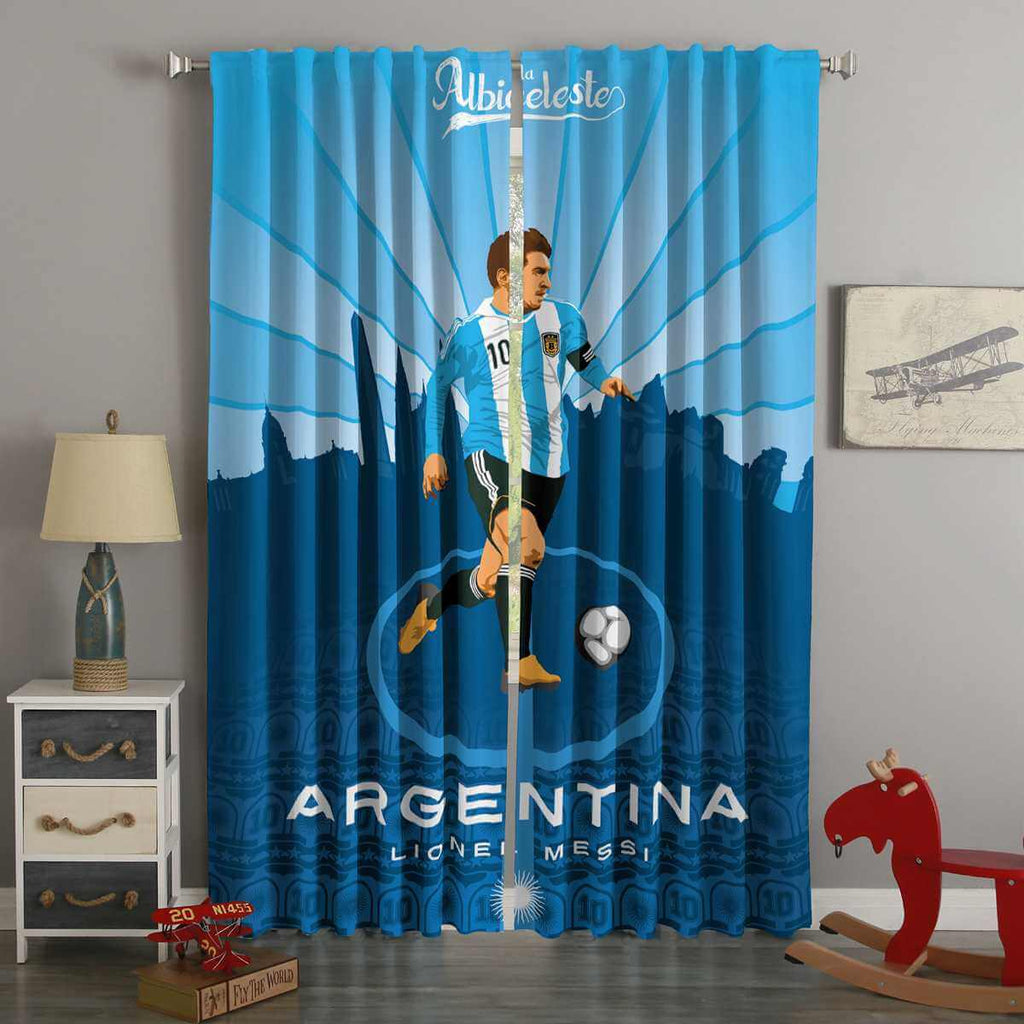 3D Printed FIFA World Cup Russia 2018 Argentina Lionel Messi  Style Custom Living Room Curtains