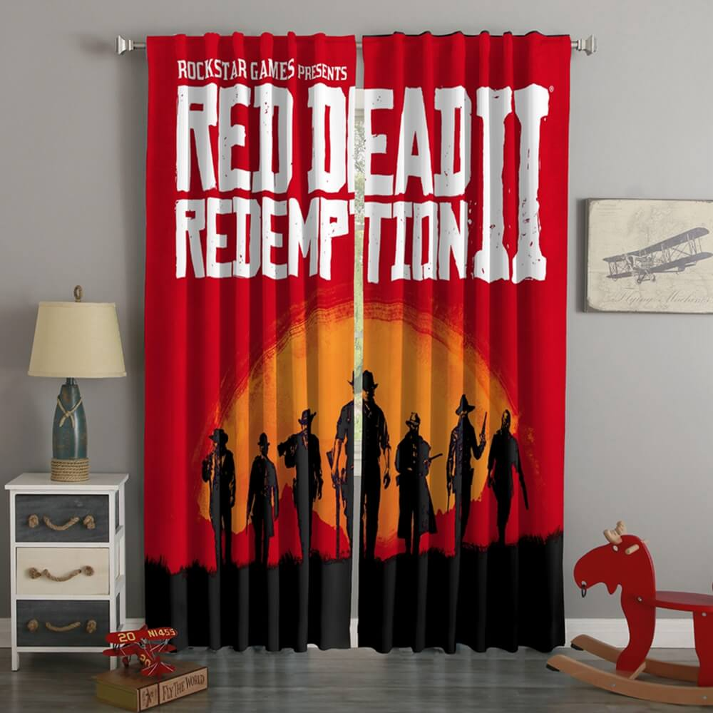 3D Printed Red Dead Redemption 2 Style Custom Living Room Curtains