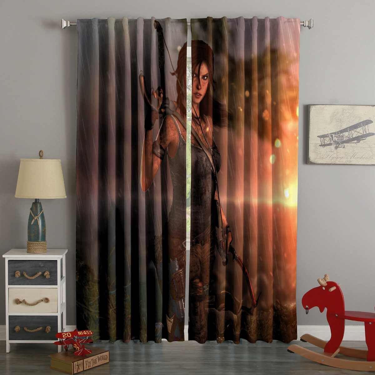 3D Printed Tomb Raider Lara Croft Style Custom Living Room Curtains