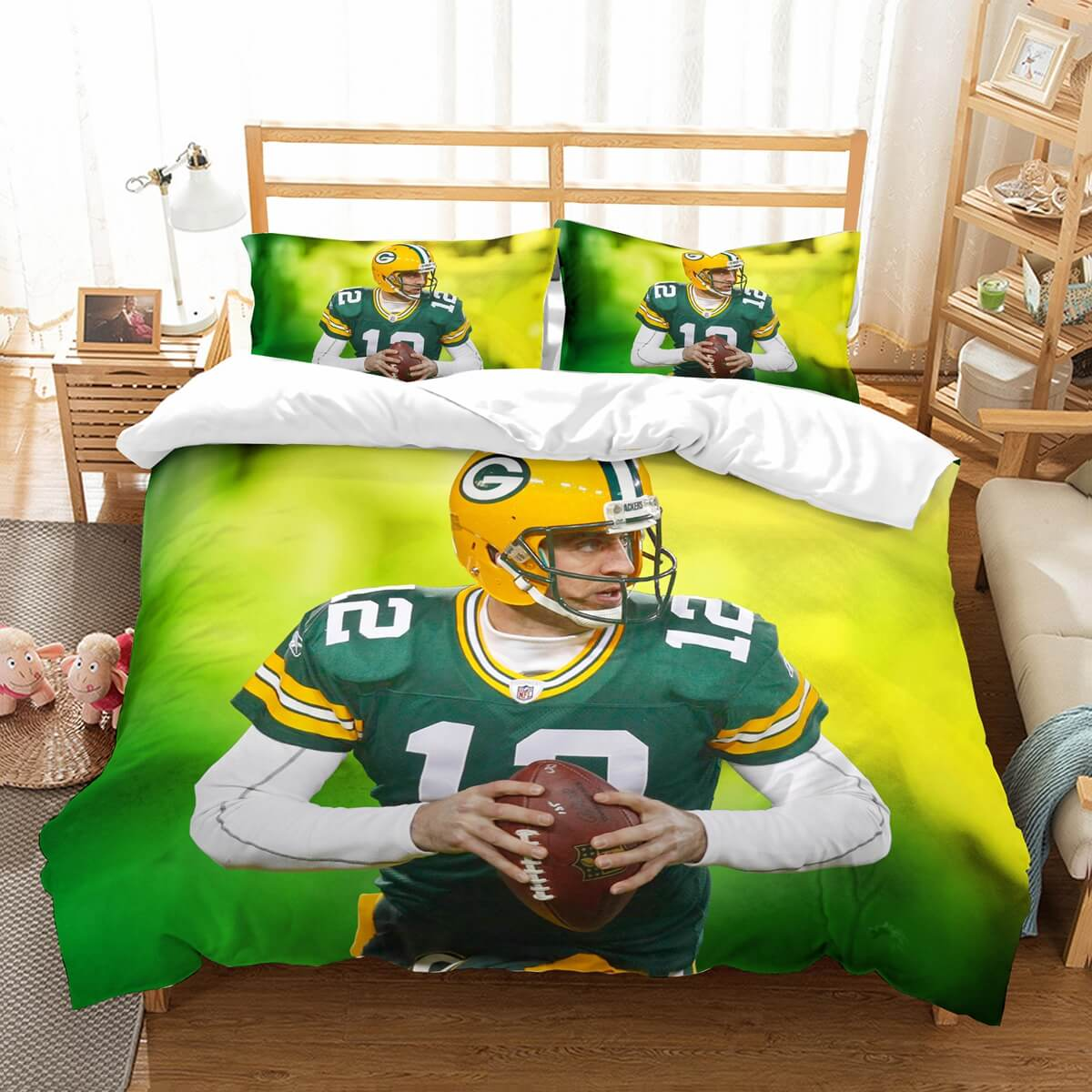 3D Customize Aaron Rodgers Green Bay Packers Bedding Set Duvet Cover Set Bedroom Set Bedlinen