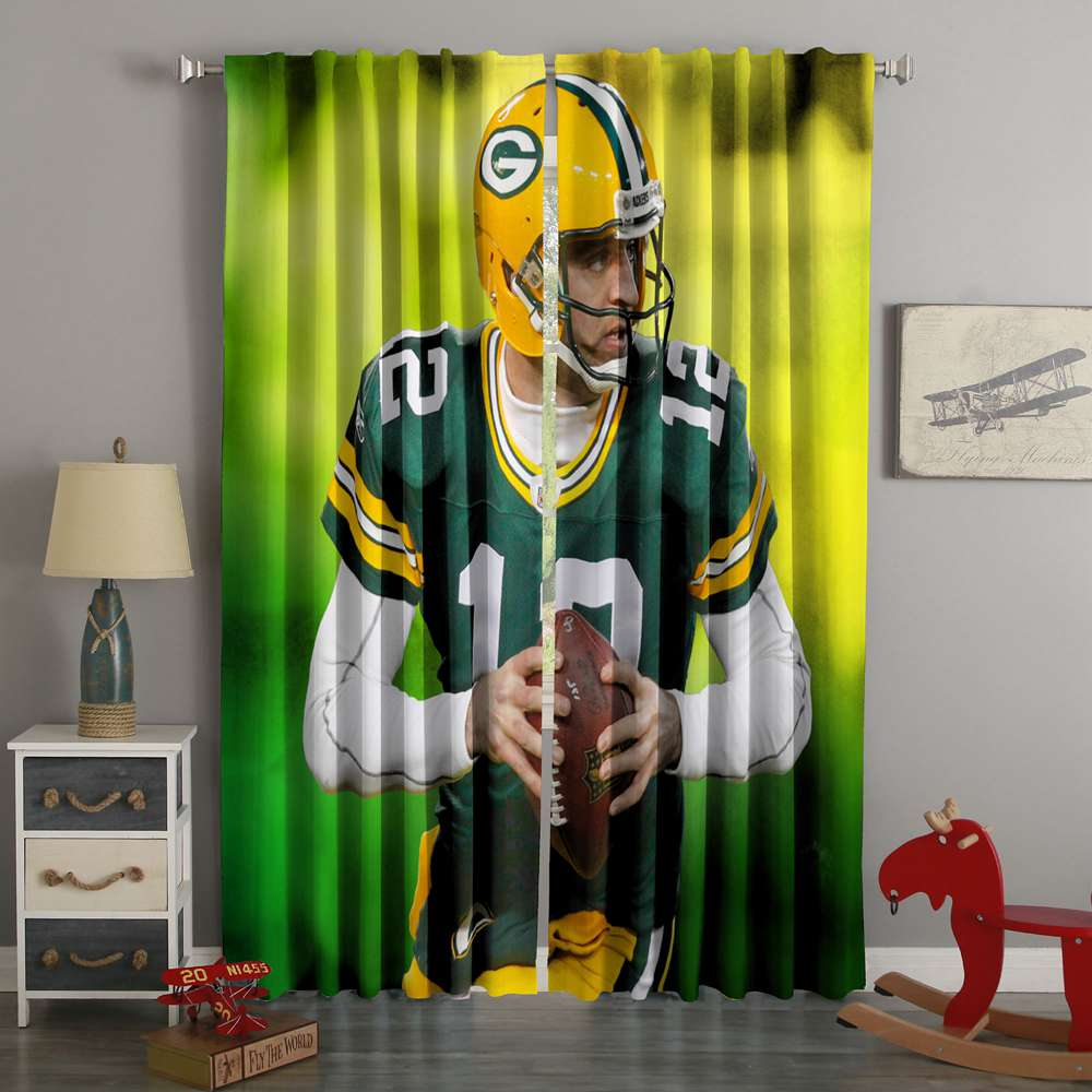 3D Printed Aaron Rodgers Green Bay Packers Style Custom Living Room Curtains
